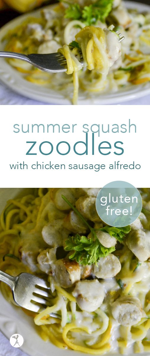 Enjoy pasta again with these summer squash zoodles with chicken sausage alfredo sauce! They're an easy and delicious grain-free dinner! #grainfree #primal #glutenfree #eggfree #zoodles #alfredosauce #chickensausage #summersquash