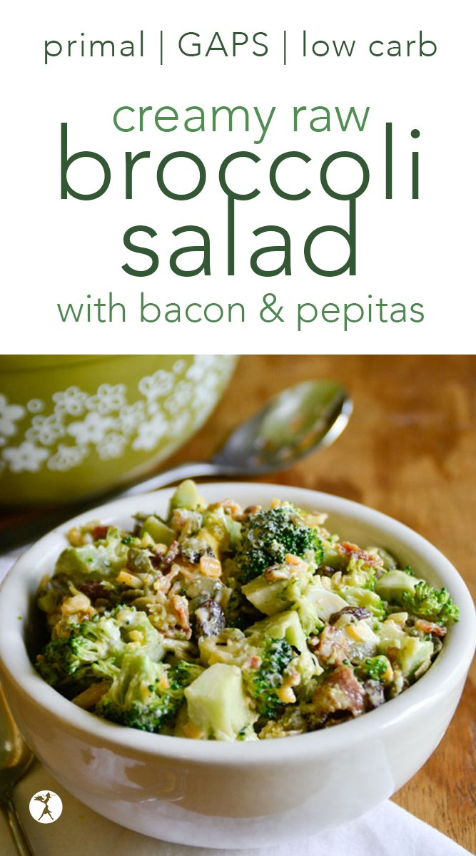 Raw Creamy Broccoli Salad with Bacon & Pepitas #broccoli #salad #sidedish #bacon #cheese #pepitas #primal #gapsdiet #lowcarb