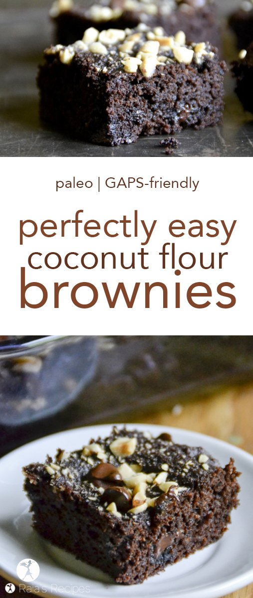 Is there anything so perfect as a soft, slightly fudgy, brownie? I think not. And these Perfectly Easy Coconut Flour Brownies take the cake! Er... brownie. #coconutflour #chocolate #paleo #gapsdiet #glutenfree #dessert #brownies