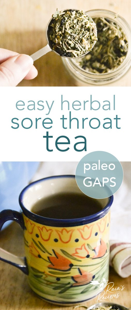 Kick that sore throat to the curb with this easy herbal tea! #immunesystem #immuneboosting #sorethroat #tea #DIY #herbs #cough #homeremedies