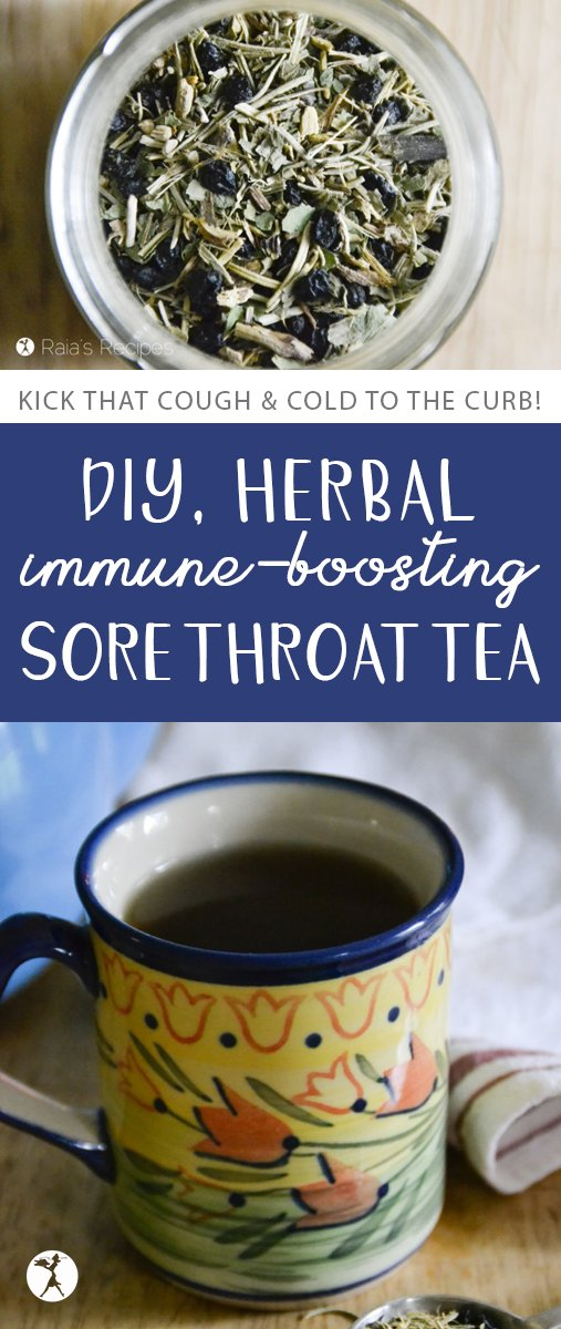 Kick that cough and cold to the curb with this DIY, Herbal Immune-Boosting Sore Throat Tea!