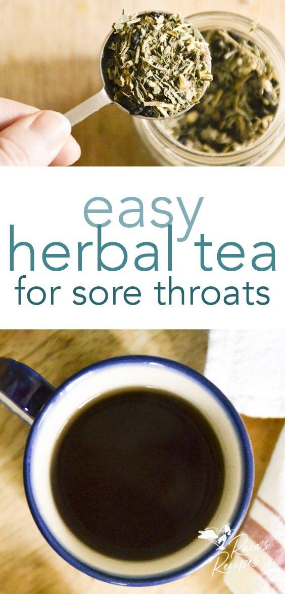 Easy herbal tea for sore throats from raiasrecipes.com #immunesystem #immuneboosting #sorethroat #tea #DIY #herbs #cough #homeremedies