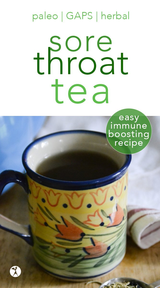 Kick that cough and cold to the curb with this DIY, Herbal Immune-Boosting Sore Throat Tea! #immunesystem #immuneboosting #sorethroat #tea #DIY #herbs #cough #homeremedies