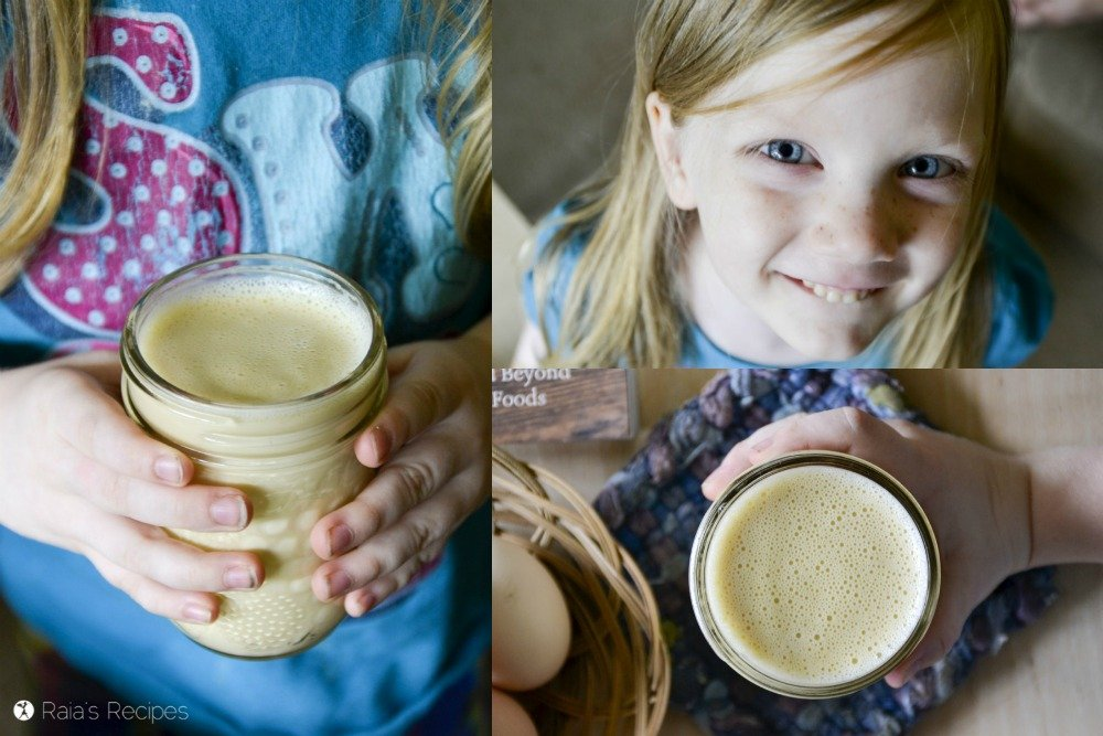 Nourishing and delicious, this Nutrient-Dense Raw Milk Tonic is the perfect bedtime snack for little ones! RaiasRecipes.com