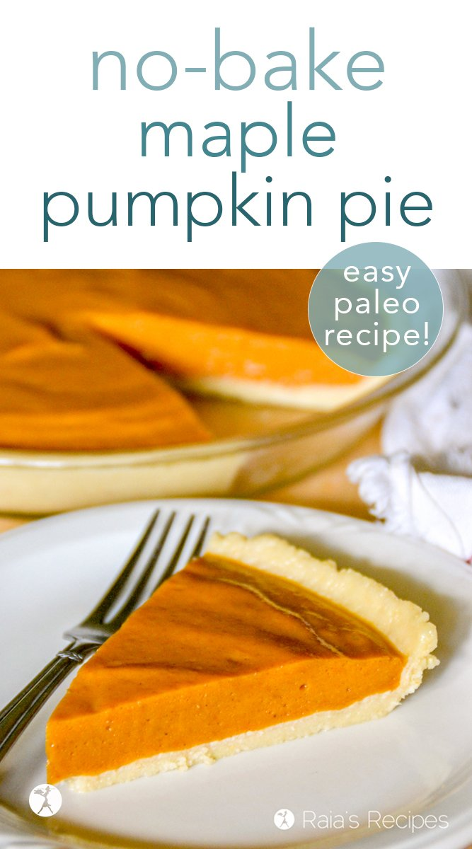 Indulge guilt-free in this honey sweetened, paleo, no-bake maple pumpkin pie complete with a grain-free, no-bake almond flour crust! #nobake #raw #paleo #glutenfree #honey #maple #pumpkinpie #pumpkin #pie #dessert #healthy