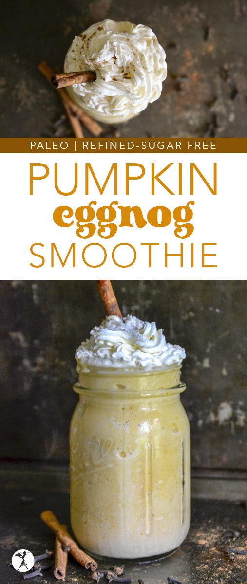 The perfect blend of good-for-you and delicious, this Healthy Pumpkin Eggnog Smoothie a simple, yet nutritious drink that will be a real-food holiday pleaser for sure. #pumpkin #eggnog #smoothie #paleo #gapsdiet #refinedsugarfree #dairyfree #healthytreats