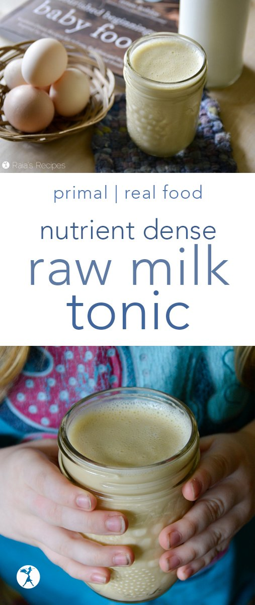 Nourishing and delicious, this Nutrient-Dense Raw Milk Tonic is the perfect bedtime snack for little ones! #primal #glutenfree #nutrientdense #minerals #vitamins #healthy #kids #healthykids #nourishing #rawmilk #tonic
