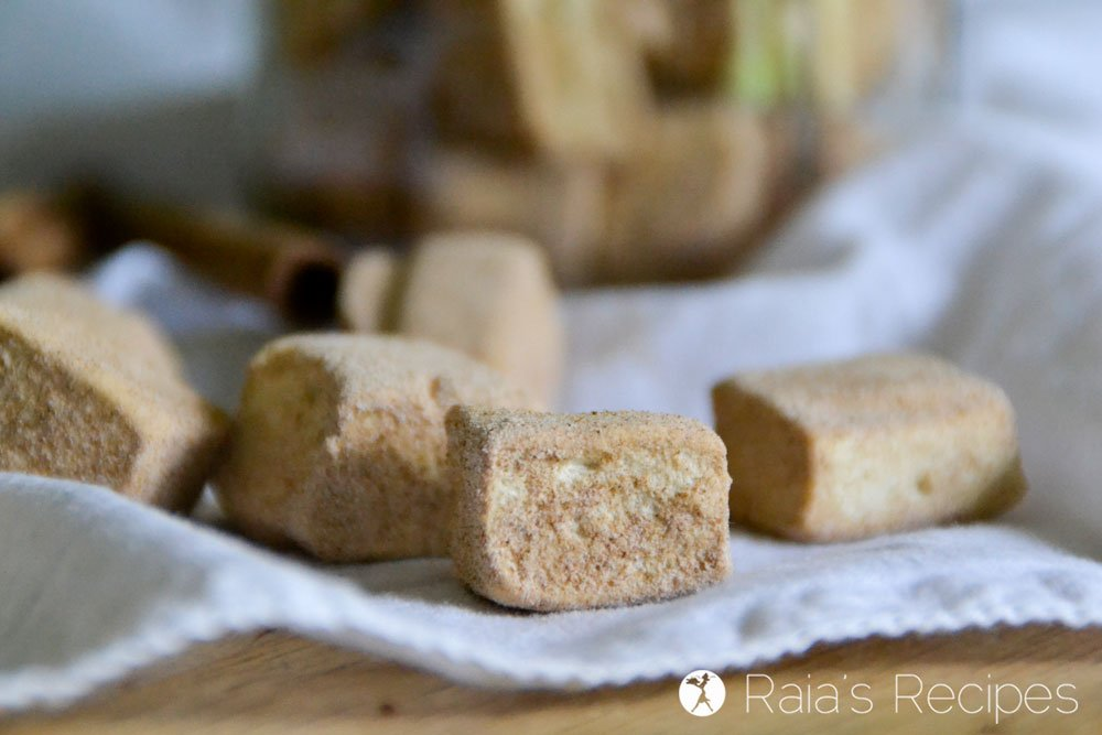 Perfect for hot cocoa, or just a healthy treat, these real food Mini Cinnamon Maple Marshmallows are a fun twist on a homemade favorite. RaiasRecipes.com