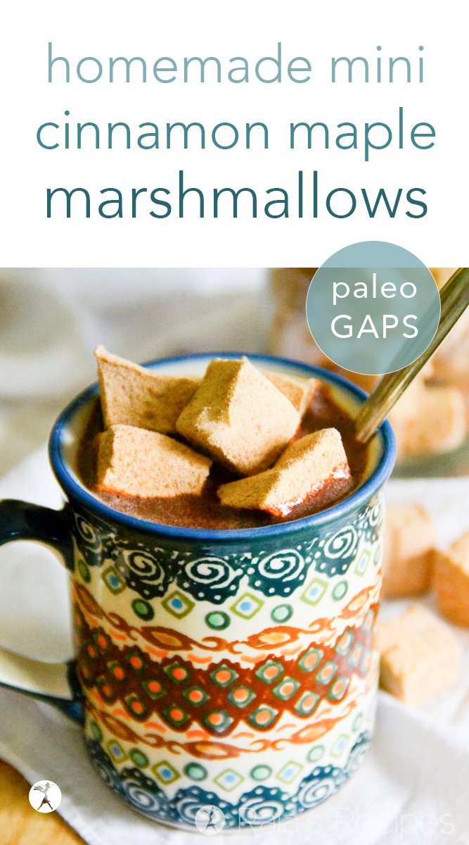Perfect for hot cocoa, or just a healthy treat, these real food mini cinnamon maple marshmallows are a fun twist on a homemade favorite. #realfood #paleo #gapsdiet #dairyfree #refinedsugarfree #cinnamon #maple #marshmallows #minimarshmallows