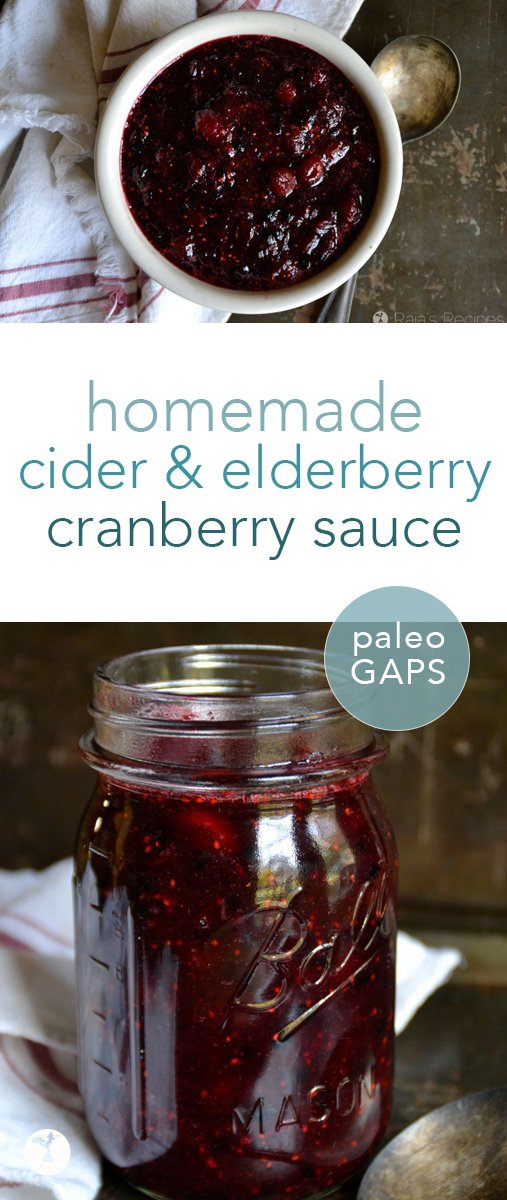 This real food, refined sugar-free homemade cider elderberry cranberry sauce has quickly become a favorite holiday treat at my house! And it's healthy... #cranberries #cranberrysauce #cider #elderberries #condiments #glutenfree #paleo #gapsdiet #refinedsugarfree #honeysweetened