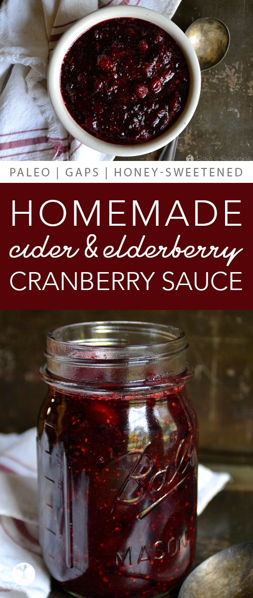 This real food, refined sugar-free Homemade Cider & Elderberry Cranberry Sauce has quickly become a favorite holiday treat at my house! And it's healthy...