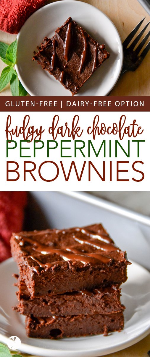 These healthy, gluten-free Fudgy Dark Chocolate Peppermint Brownies are the perfect way to indulge without feeling guilty! #glutenfree #darkchocolate #brownies #peppermint