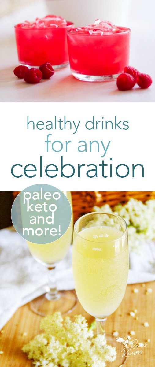 50+ healthy drinks for any celebration! Mocktails, cocktails, cocoas, ciders, teas, coffees... there's something here for everyone! #drinks #mocktail #tea #coffee #celebration #paleo #keto #healthy