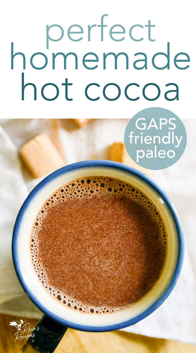 No need to feel guilty enjoying a mugful of this delicious perfect homemade hot cocoa!  #hotcocoa #hotchocolate #drinks #comfort #nourishing #chocolate #cocoa #paleo #gapsdiet #glutenfree #dairyfree