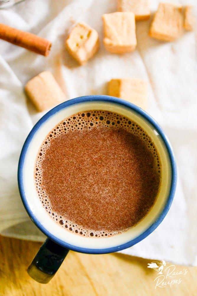 top shot of homemade hot cocoa