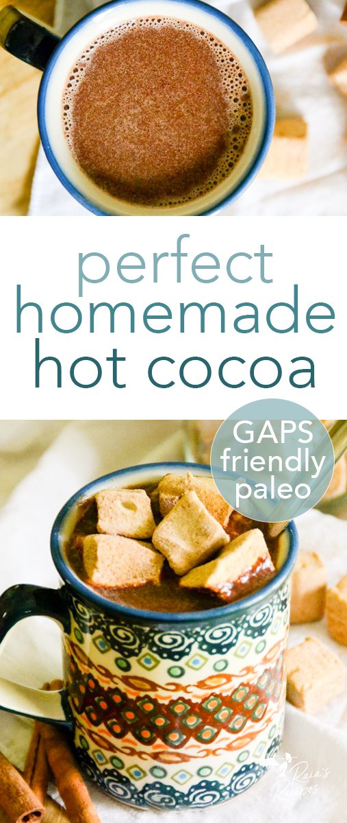 No need to feel guilty enjoying a mugful of this delicious perfect homemade hot cocoa! It's packed full of good-for-you ingredients! #hotcocoa #hotchocolate #drinks #comfort #nourishing #chocolate #cocoa #paleo #gapsdiet #glutenfree #dairyfree