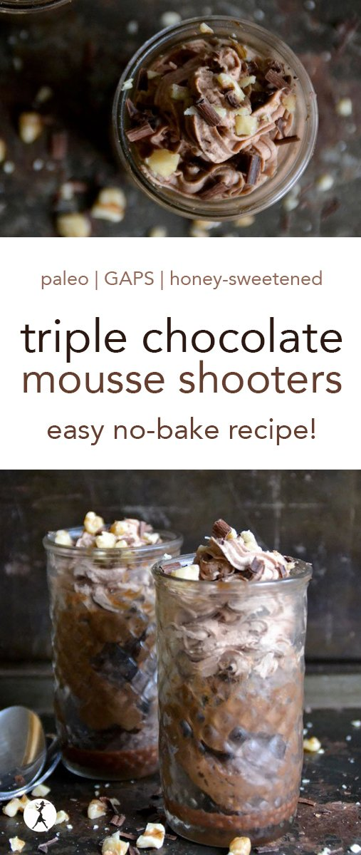 Decadent and delicious, these Triple Chocolate Mousse Shooters are not only easy to whip up, they're full of healthy, real food goodness! #chocolate #darkchocolate #mousse #paleo #gapsdiet #realfood #glutenfree #dairyfree #dessert #nobake