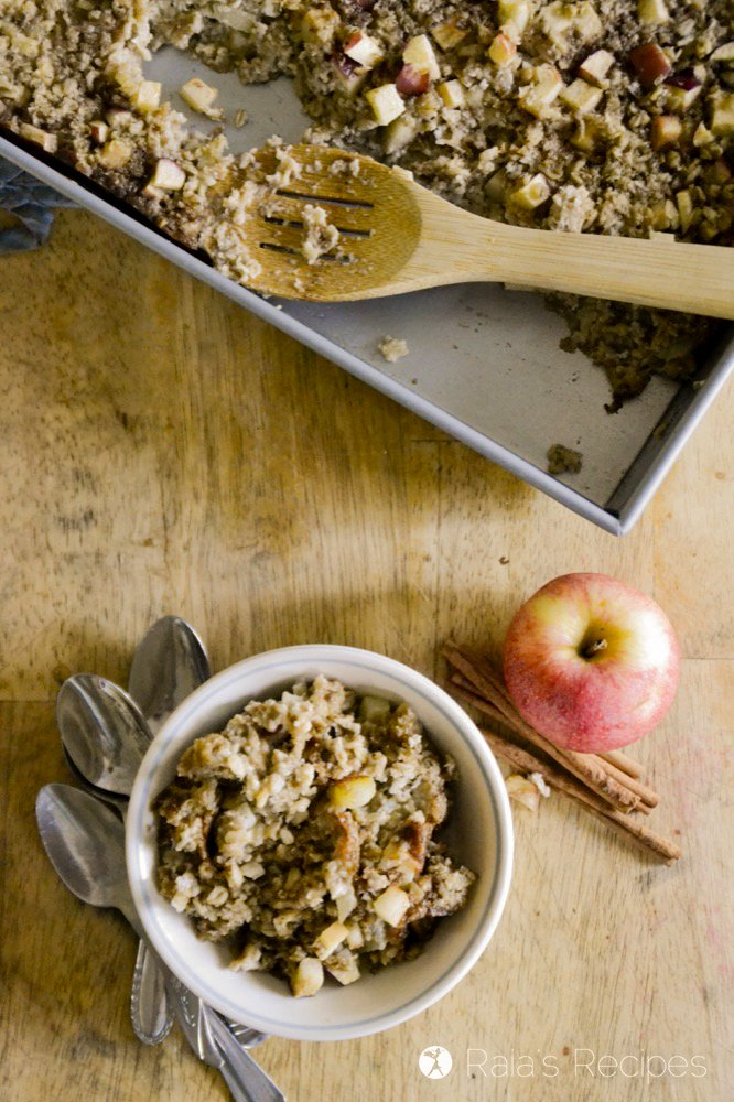 Top shot of soaked maple apple baked oatmeal from raiasrecipes.com