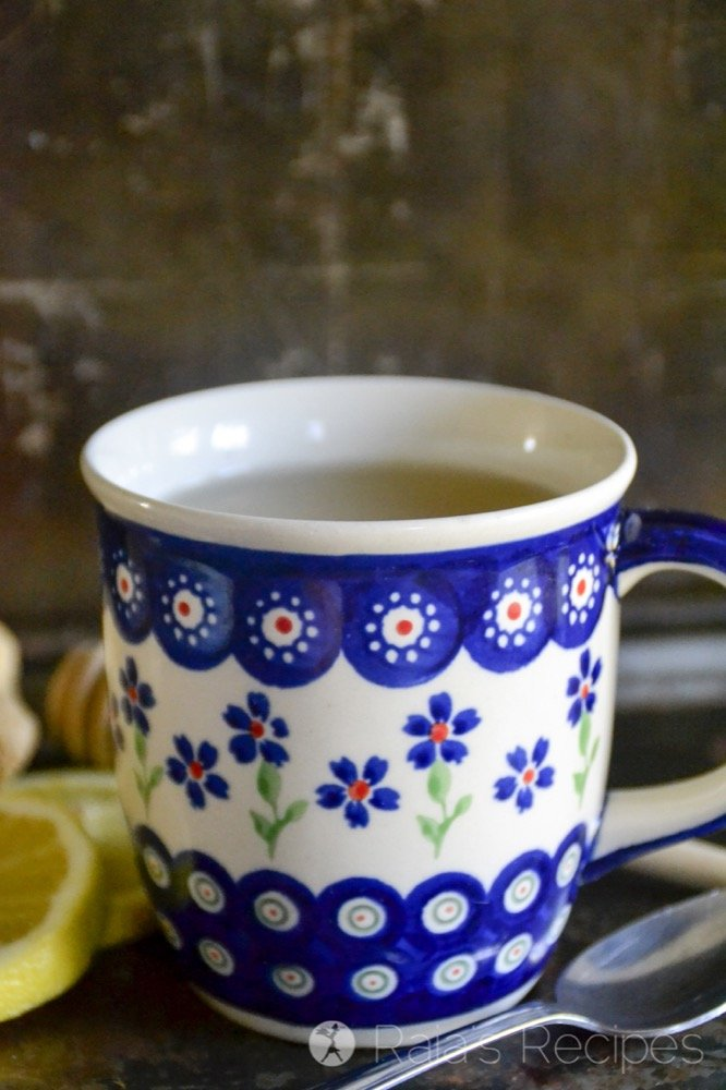 a cup of honey ginger allergy tea from raiasrecipes.com