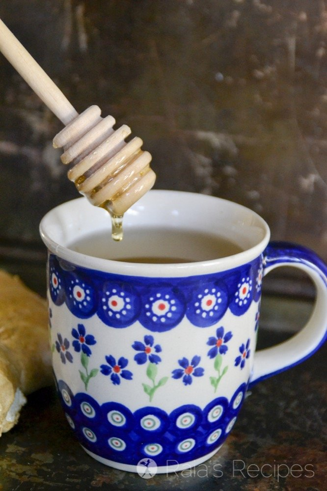 drizzling into honey ginger allergy relief tea from raiasrecipes.com