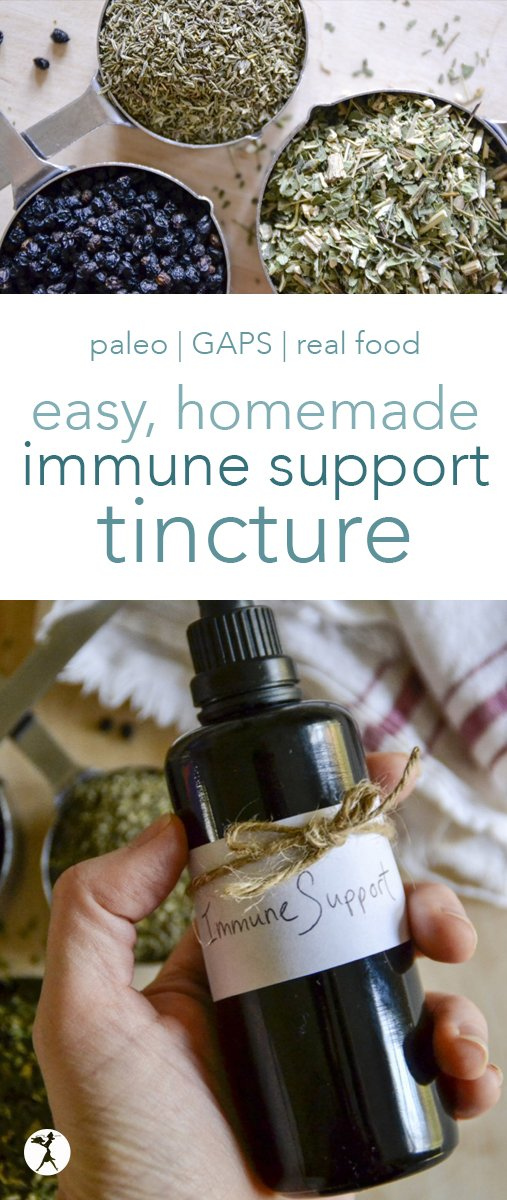 Never made a tincture before? This Easy Immune Support Tincture is a great place to start! And your immune system will thank you... #immunesystem #tincture #herbs #diy #homemade #paleo #gapsdiet #realfood #naturalhealth