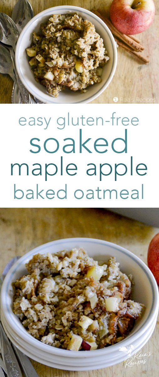 Need an upgrade from regular soaked oats? Try this soaked maple apple baked oatmeal! It's a tasty and fun breakfast the whole family will enjoy. #glutenfree #soakedgrains #bakedoatmeal #maple #apple #breakfast