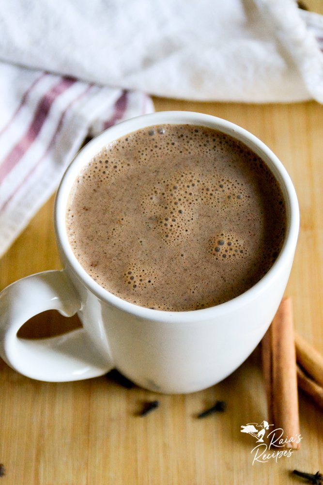 mug of buttered chai hot chocolate from raiasrecipes.com
