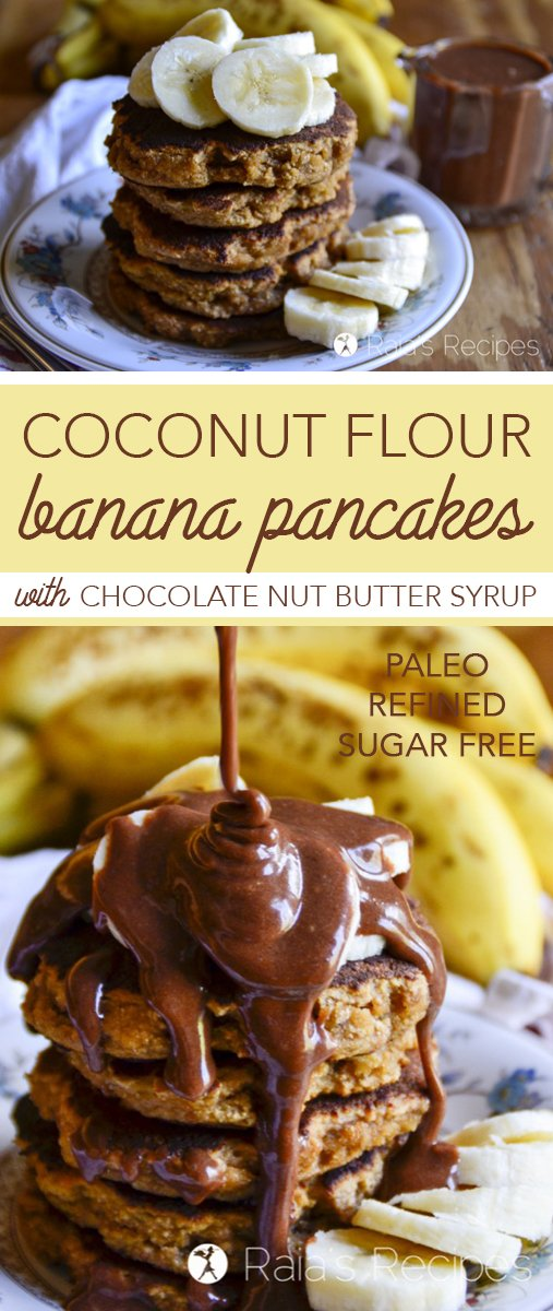Perfectly fluffy and deliciously simple, these paleo Coconut Flour Banana Pancakes with Chocolate Nut Butter Syrup are sure to hit the spot any morning!