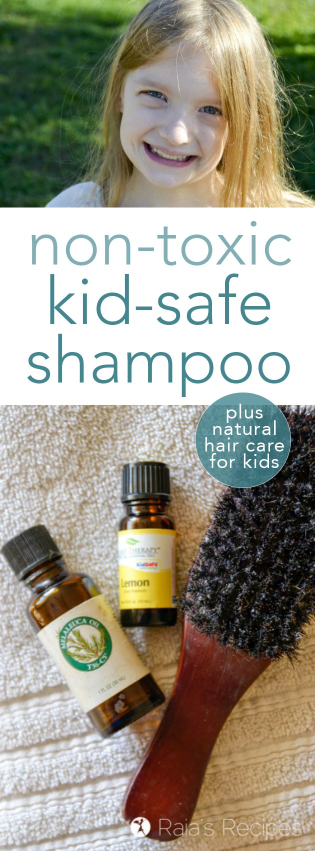 Want to keep your kids scalp and skin safe from unnecessary toxins? Here's what I dofor non-toxic hair care for kids, as well as a kid-safe shampoo recipe that's easy to make yourself! #DIY #shampoo #nontoxic #kidsafe #essentialoils