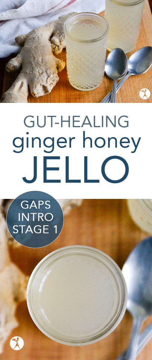 Whether you're going through the GAPS Intro Diet, or you just need a nice easy healing snack, this Ginger Honey Jello is for you! #gapsdiet #introdiet #stage1 #gapsintrodiet #ginger #jello #gelatin #guthealth #healing #realfood