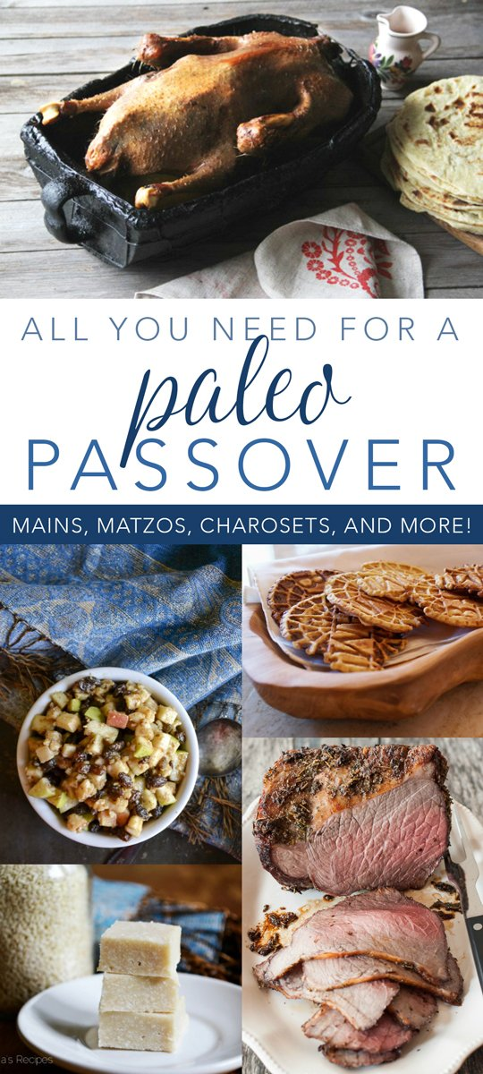 Celebrating Passover can be hard if you're living a paleo lifestyle. But no longer! Here are over 50 dishes for a deliciousPaleo Passover! #paleo #passover #pesach #glutenfree #dairyfree #refinedsugarfree #kosher #maindish #sidedish #charoset #matzo