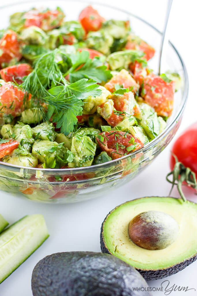 Cucumber Tomato Avocado Salad from Wholesome Yum