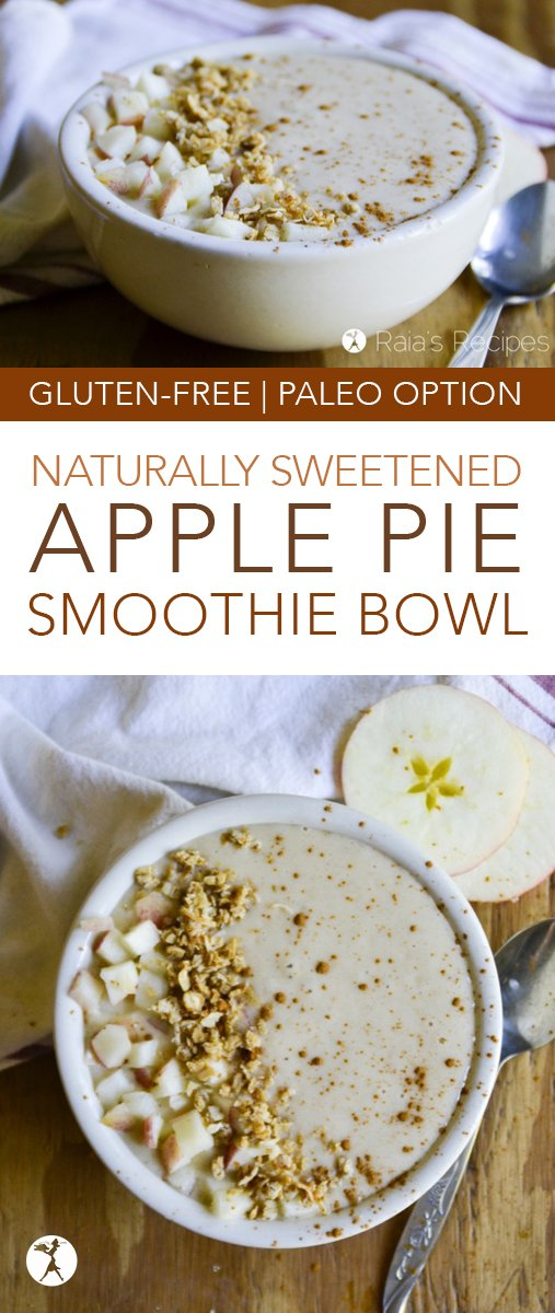 Enjoy apple pie all year 'round with this delicious and healthy gluten-free Apple Pie Smoothie Bowl! It's an easy gluten-free breakfast or treat, and can easily be made paleo or even vegan! #glutenfree #smoothie #smoothiebowl #applepie #apples #yogurt #breakfast #refinedsugarfree #paleo #vegan