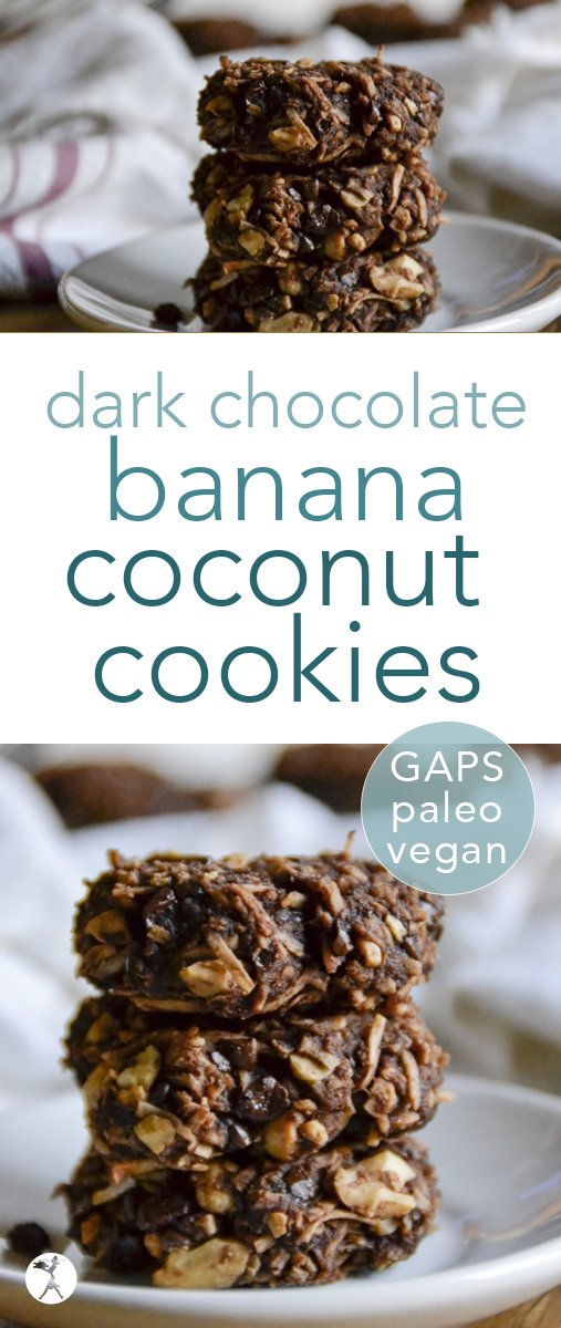 These easy and delicious vegan paleo dark chocolate banana coconut cookies are a wonderful healthy treat! They're simple and nutritious, so you won't mind eating 2... or 10... #darkchocolate #banana #coconut #cookies #vegan #paleo #gapsdiet #glutenfree #dairyfree #dessert #eggfree