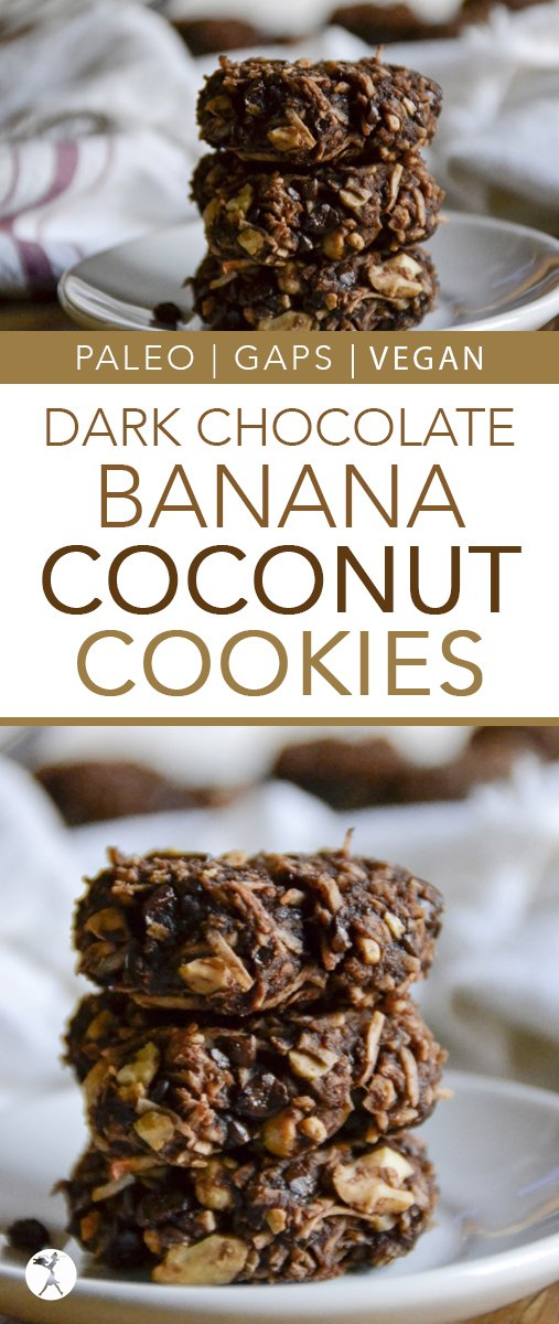 These easy and delicious vegan paleo Dark Chocolate Banana Coconut Cookies are a wonderful healthy treat!  #cookies #banana #chocolate #darkchocolate #coconut #vegan #paleo #gapsdiet #realfood #glutenfree #easyrecipe