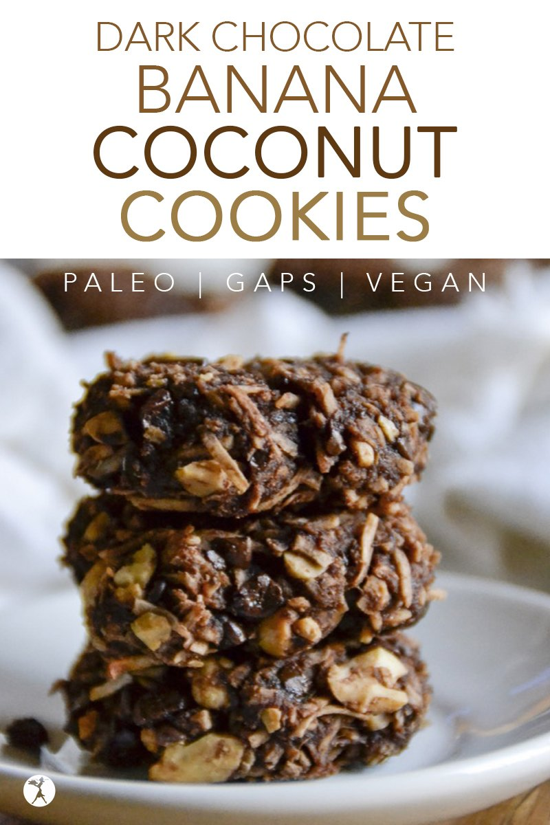 Dark Chocolate Banana Coconut Cookies #cookies #banana #chocolate #darkchocolate #coconut #vegan #paleo #gapsdiet #realfood #glutenfree #easyrecipe