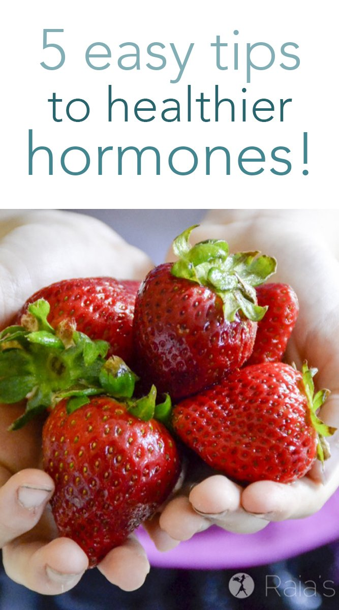 Being a mom means your hormones can take quite a beating, and it can be hard to get them back on track. Here are 5 tips I've used to eat my way back to healthier hormones! #healthyhormones #hormones #healthyeating #nutrition #paleo #glutenfree #herbs