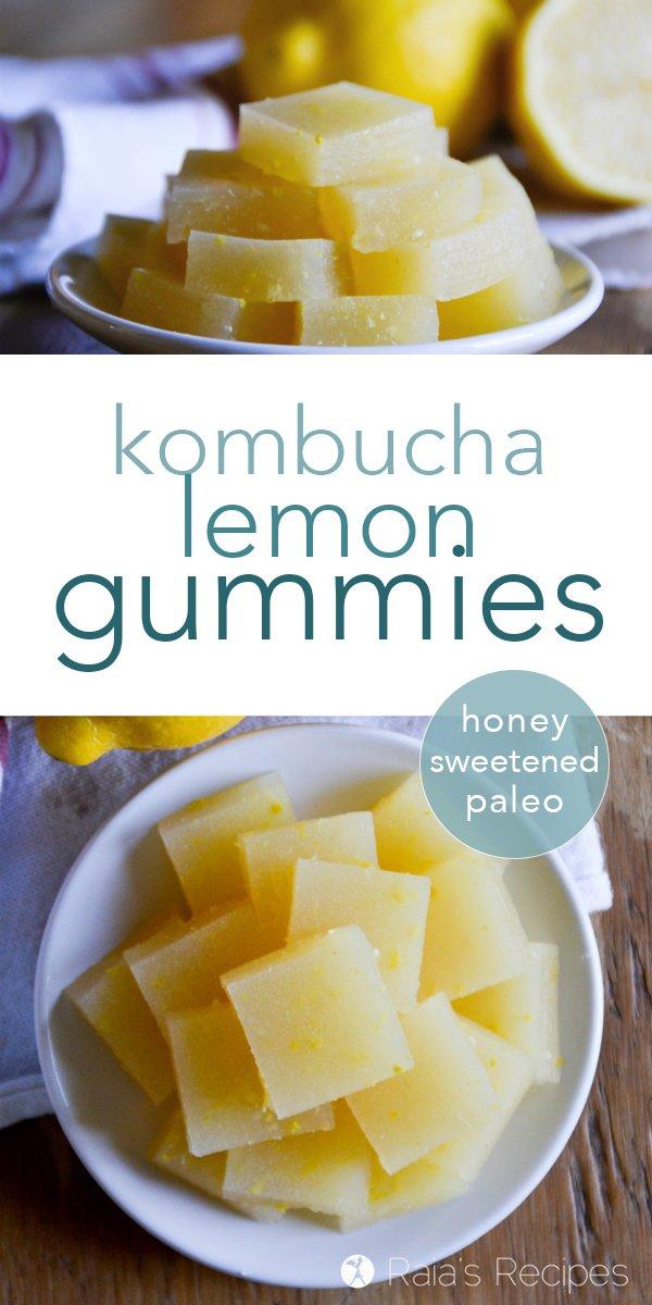 Nourishing and full of probiotics, these paleo and refined-sugar free Kombucha Lemon Gummies are the perfect healthy treat! #paleo #glutenfree #realfood #kombucha #lemon #gummies #fruitsnacks #snack #probiotics