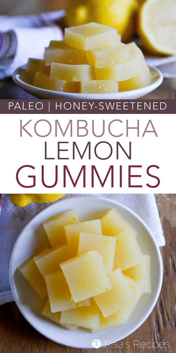 Nourishing and full of probiotics, these paleo and refined-sugar free Kombucha Lemon Gummies are the perfect healthy treat! #paleo #glutenfree #realfood #kombucha #lemon #gummies #fruitsnacks #snack #probiotics