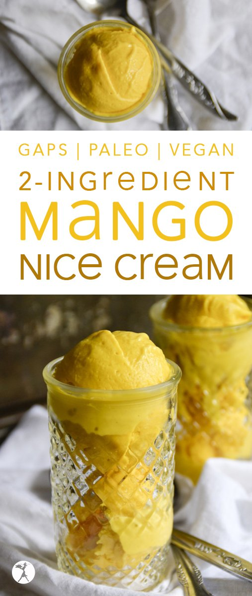 For a delicious and healthy treat, indulgeyourself withthis 2-Ingredient Mango Nice Cream. It's grain-free, sugar-free, vegan, paleo/GAPS-friendly, and completely guilt-free! #nicecream #icecream #vegan #glutenfree #paleo #gapsdiet #mango #coconutoil #fruit