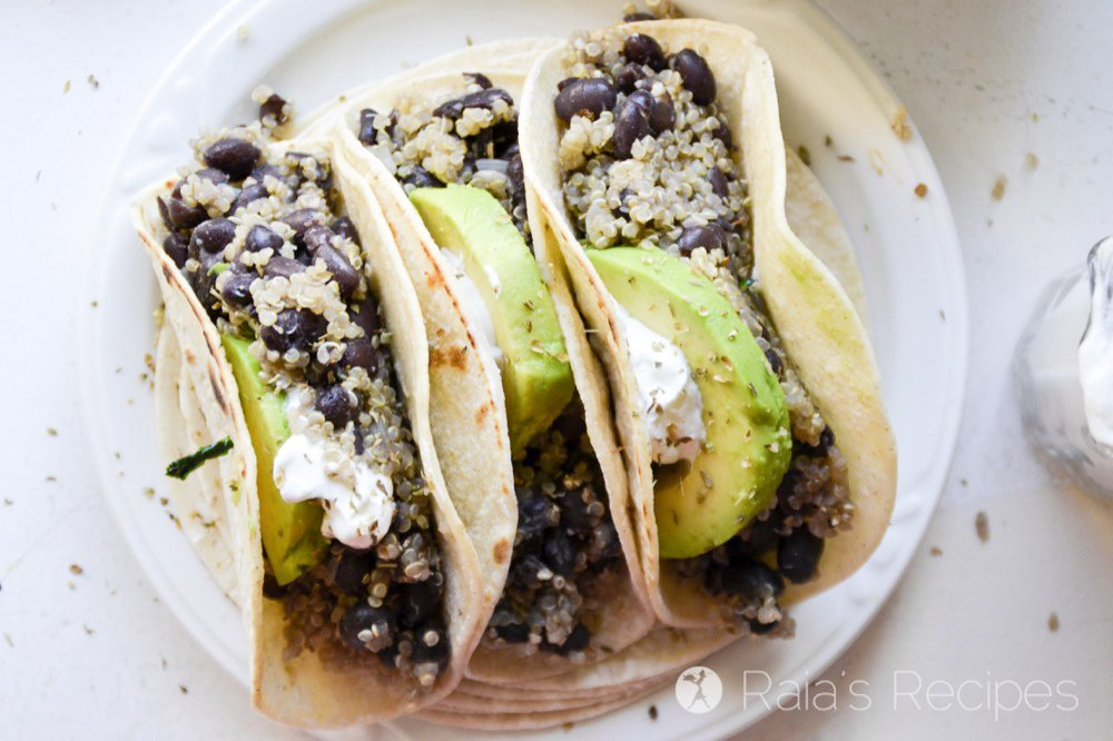 These Quinoa and Black Bean Tacos are an easy weeknight meal! They're naturally vegan, and can even be grain-free!