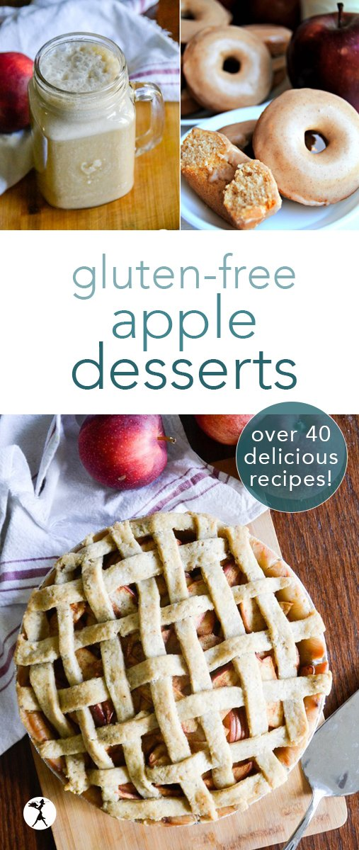 Celebrate fall in all it's delicious glory! Feast your eyes and your tummies on these 40+ gorgeous and delicious gluten-free apple desserts. Pies, cobblers, crisps, muffins, and more! #glutenfree #dessert #apple #pie #cobbler #applecrisp #cider #donuts #muffins