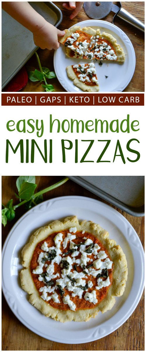 Need a quick and simple swap for regular pizzas? These easy homemade grain-free mini pizzas are for you! They're paleo, keto, low-carb, and GAPS-friendly. #grainfree #paleo #pizza #keto #lowcarb #Italianfood #gapsdiet