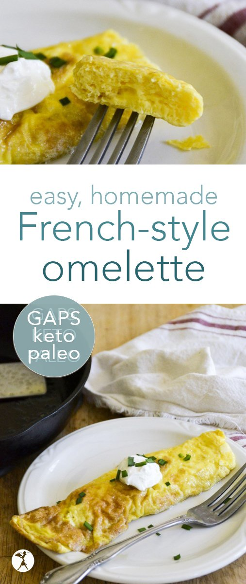 You don't need to be a chef to make a gorgeous omelette! This easy French style omelette is a delicious paleo and GAPS-friendly treat that's sure to become a favorite. #eggs #omelette #breakfast #paleo #gapsdiet #keto #lowcarb #glutenfree #homemade #easy #nourishing