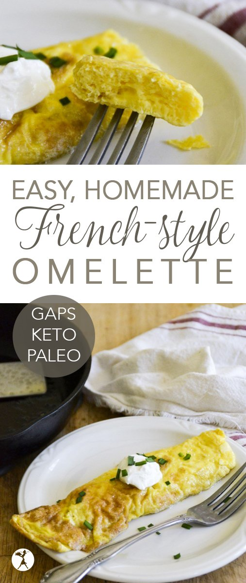You don't need to be a chef to make a gorgeous omelette! This Easy French Style Omelette is a delicious paleo and GAPS-friendly treat that's sure to become a favorite. #gapsdiet #keto #lowcarb #paleo #realfood #breakfast #omelette #healthy #eggs