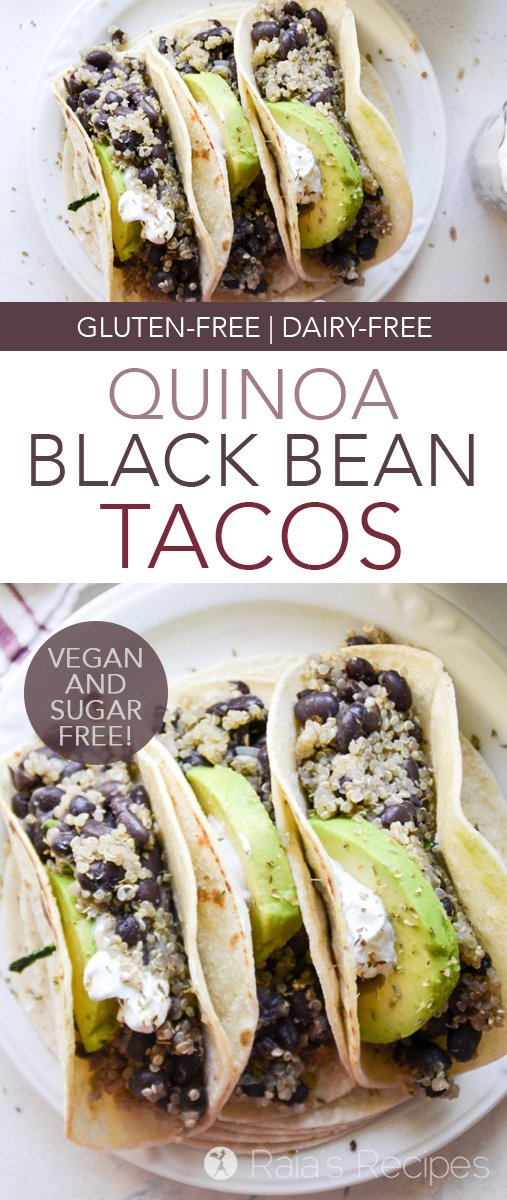 These Quinoa and Black Bean Tacos are an easy weeknight meal! They're naturally gluten-free and vegan, and can even be grain-free! #tacos #quinoa #blackbeans #vegan #glutenfree #dinner #realfood #maindish #dairyfree #eggfree #sugarfree