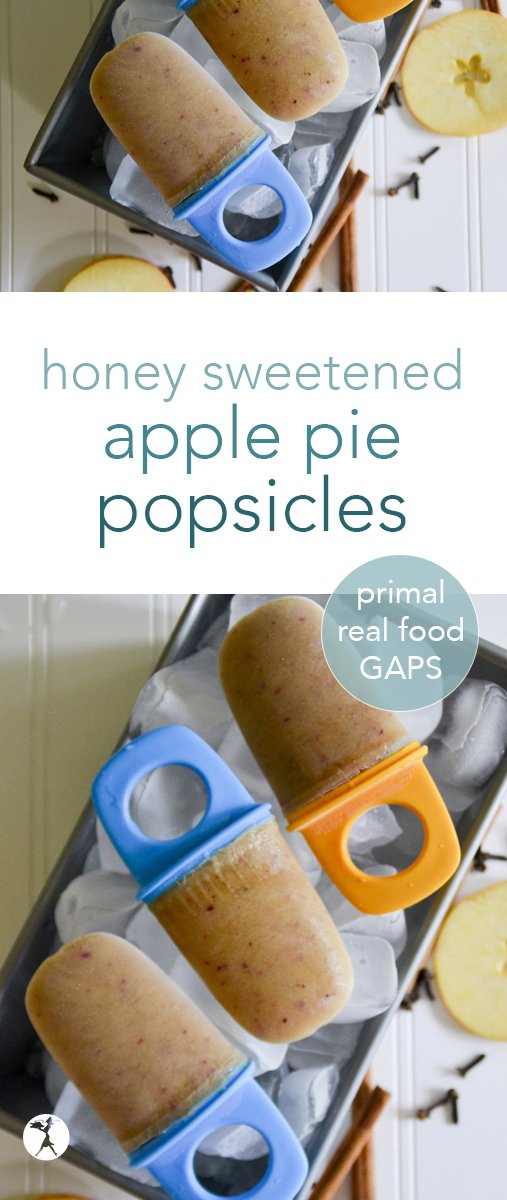These gluten-free, primal, and GAPS diet friendly Apple Pie Popsicles are a healthy, kid-friendly way to celebrate apples and summer!  #popsicles #gapsdiet #realfood #primal #apples #applepie #healthy #kids