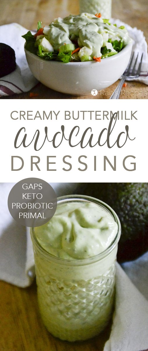 "dose of healthy fats with the superfood hidden in this delicious GAPS-friendly Creamy ""Buttermilk"" Avocado Dressing. #gapsdiet #avocado #dressing #salad #healthy #probiotic #keto #lowcarb"