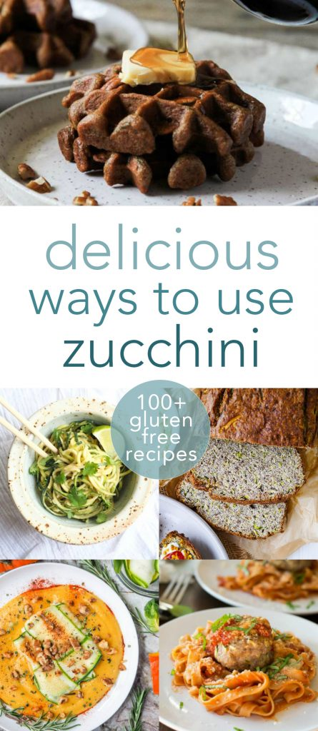 Does it seem like you have zucchini coming out your ears? If you have that wonderful 'problem,' here are 101 delicious zucchini recipes that are all gluten-free! #glutenfree #paleo #lowcarb #realfood #zucchini #breakfast #lunch #dinner #sides #dessert