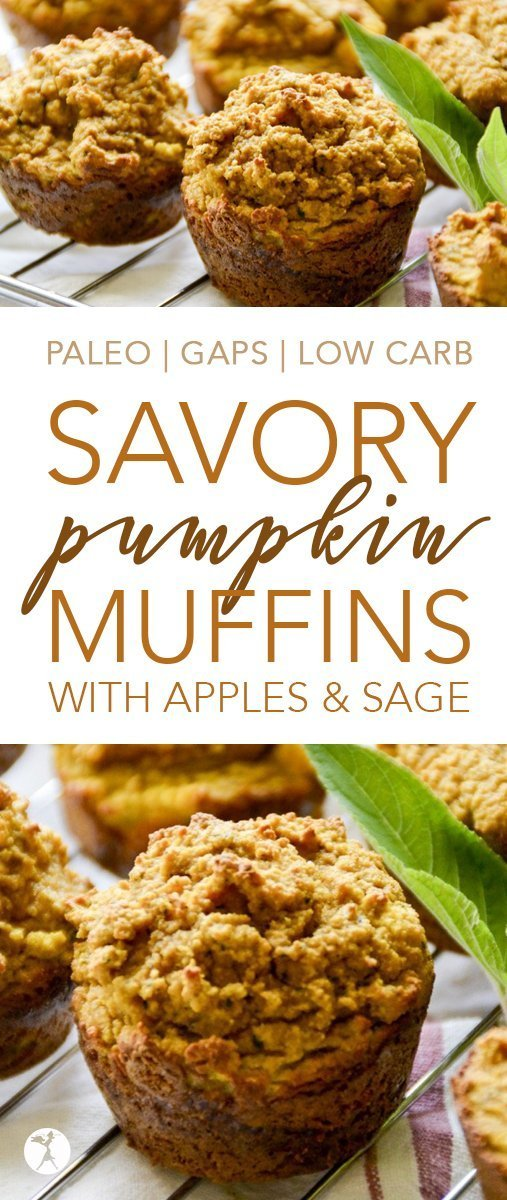 Perfect for breakfast or a snack, these paleo and GAPS-friendly Savory Pumpkin Muffins with Apple & Sage are a delicious treat! #pumpkin #muffins #paleo #gapsdiet #lowcarb #apple #sage #realfood #dairyfree #glutenfree